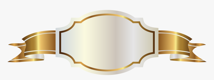 Clip Art Golden With White Label - Gold Ribbon Banner Png, Transparent Png, Free Download