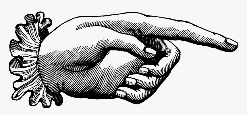 Vintage Pointing Hand Clipart, HD Png Download, Free Download