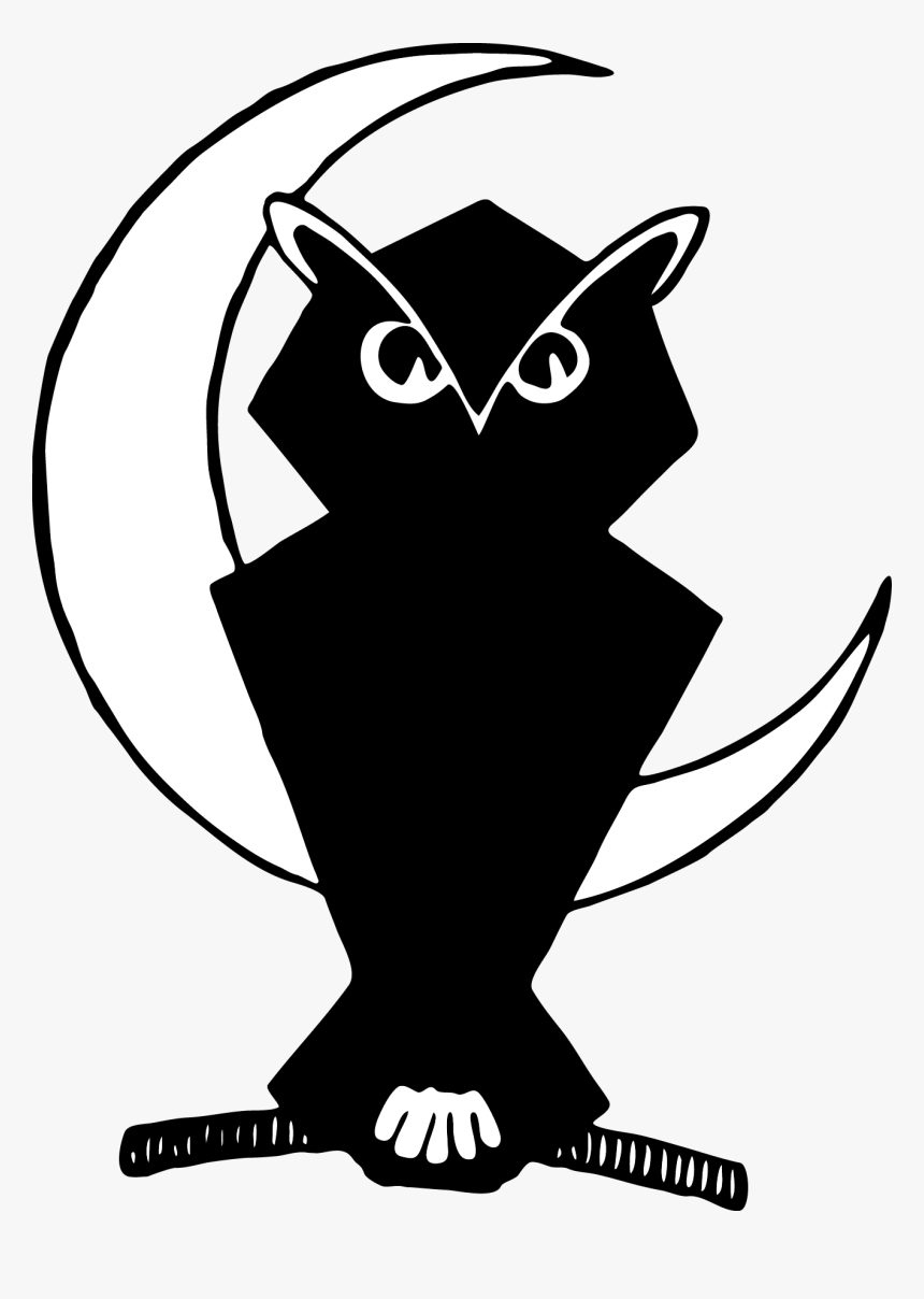 Beak Owl Silhouette Line Art Clip Art - Transparent Owl And Moon, HD Png Download, Free Download