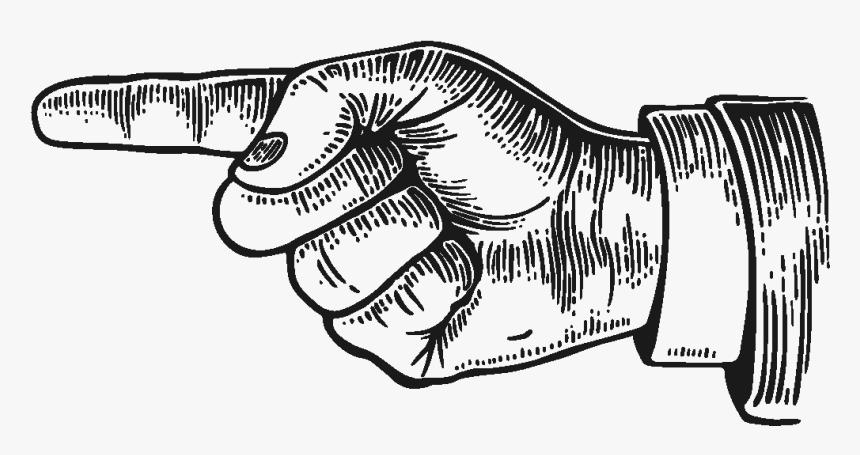 Vintage Engraved Illustration Of Finger Pointing - Pointing Finger Sign, HD Png Download, Free Download