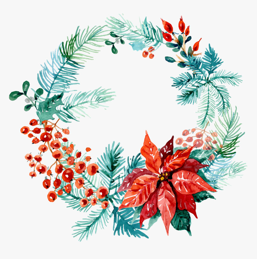 Free Christmas Watercolor Wreaths Images Web - Merry Christmas Wreath Watercolor, HD Png Download, Free Download