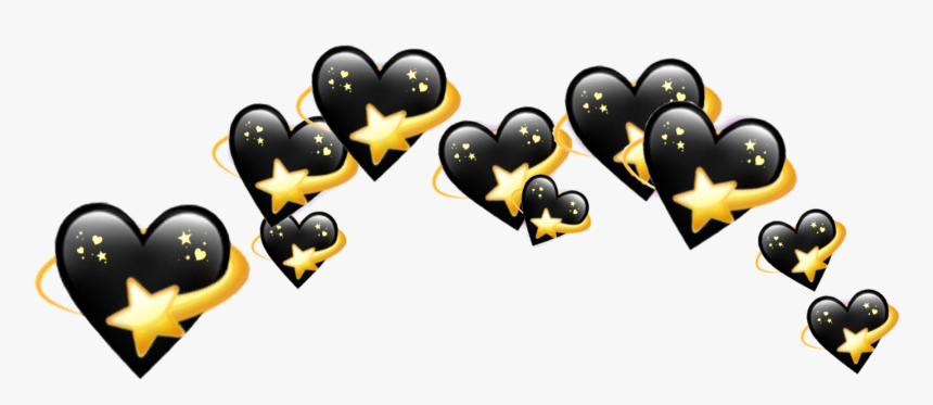 Black Hearts Heart Crown Crowns Emoji Tumblr Aest - Black Heart Emoji Crown, HD Png Download, Free Download