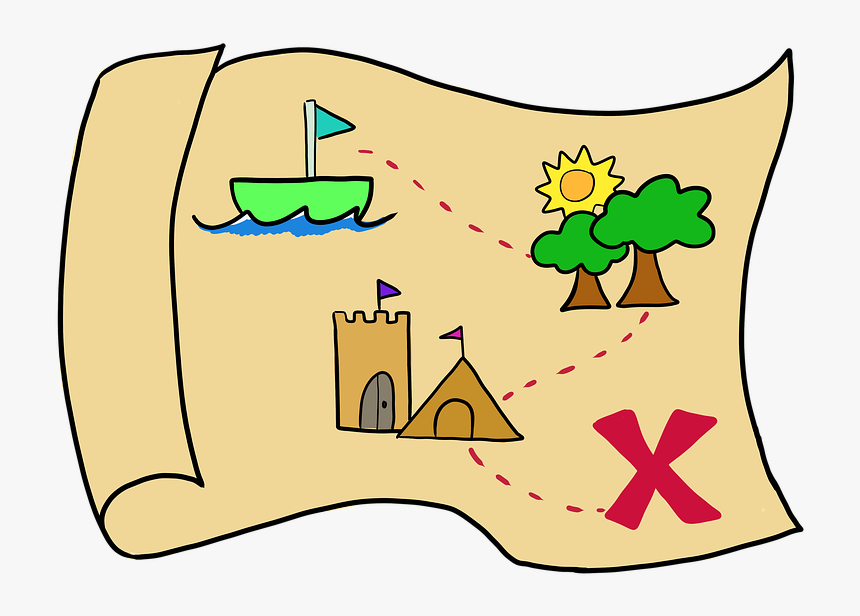 Map, Paper, Directions, X Marks The Spot, Park, Castle - X Marks The Spot Map, HD Png Download, Free Download