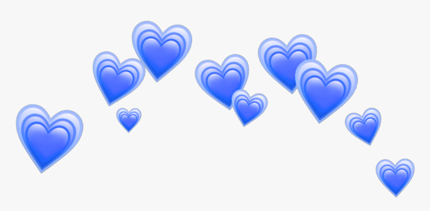 Heart Blue Blueheart Heartblue Hearts Crown Tumblr - Heart Emoji Crown Png, Transparent Png, Free Download