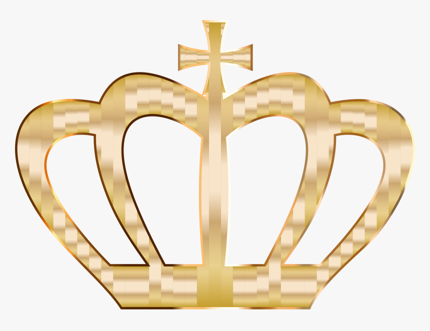 Gold Crown Silhouette 2 No Background Clip Arts - Gold Heart With Crown, HD Png Download, Free Download