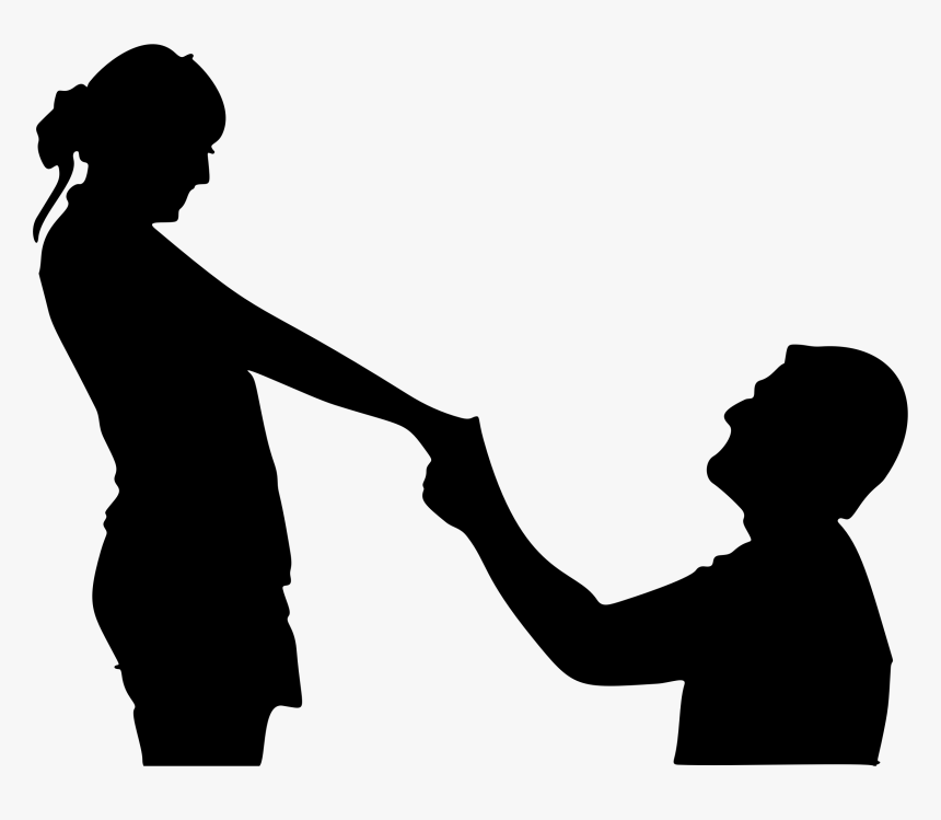 Boy Gil Png - Silhouette Man And Woman Holding Hands, Transparent Png, Free Download