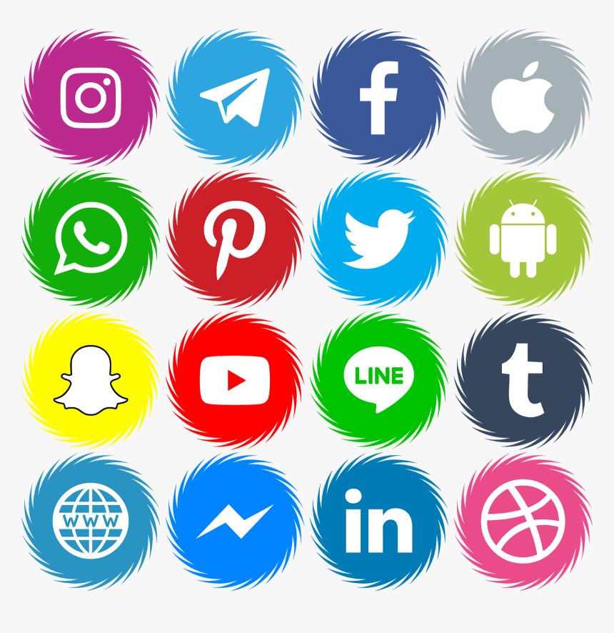 Download 16 Icons Social Media Vector Color Svg Eps - Transparent Background Social Media Icons Png, Png Download, Free Download