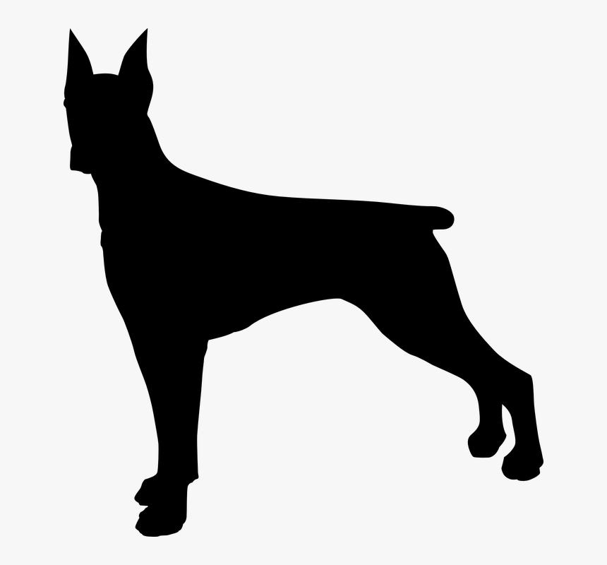 Doberman Dog Silhouette Clip Art - Transparent Background Dog Silhouette Png, Png Download, Free Download
