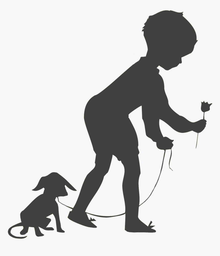 Boy With Dog And Flower Silhouette - Children Flower Silhouette, HD Png Download, Free Download