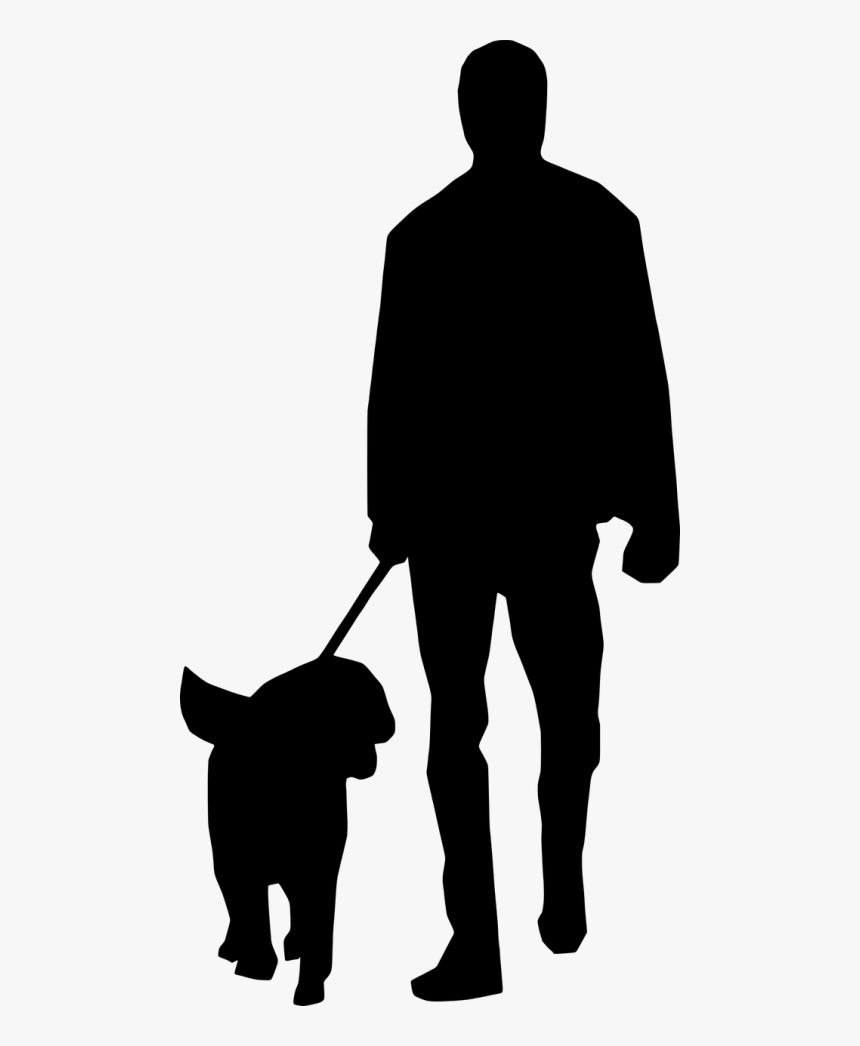 Transparent People Clipart Silhouette Walking - Man Walking Dog Silhouette, HD Png Download, Free Download