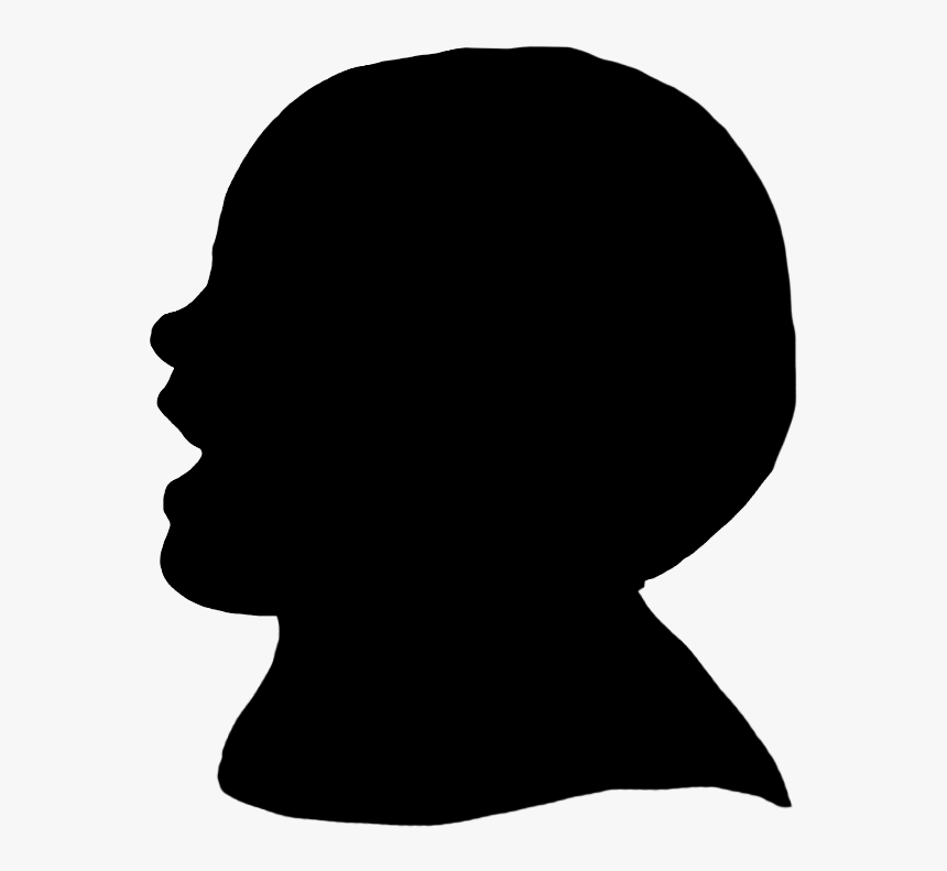 Laughing Toddler Silhouette - Side View Face Shadow, HD Png Download, Free Download