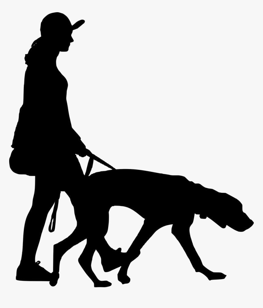 Silhouette, Walking, Dog, Women, People, Full - Walking People Silhouette Png, Transparent Png, Free Download