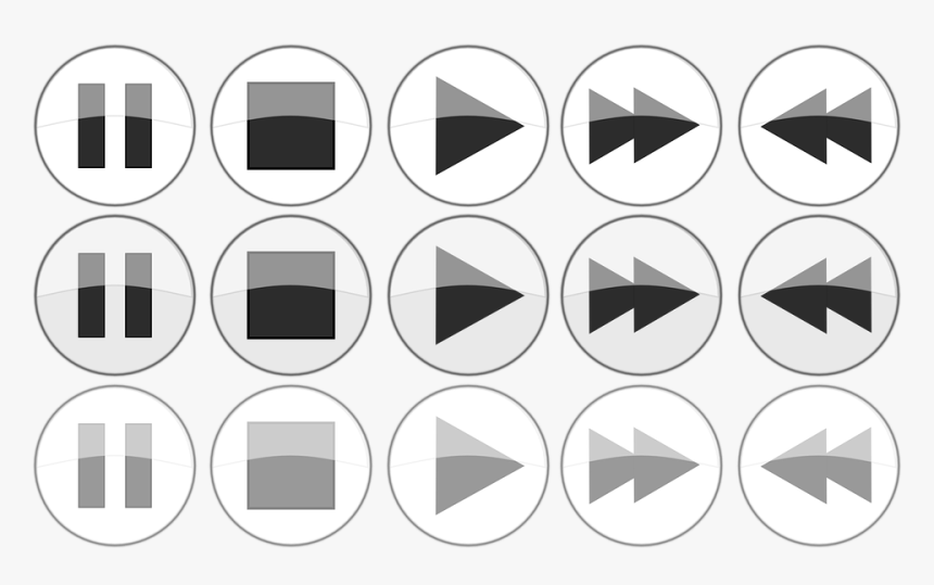 Transparent Play Button Png White - Player Buttons Icons Png, Png Download, Free Download