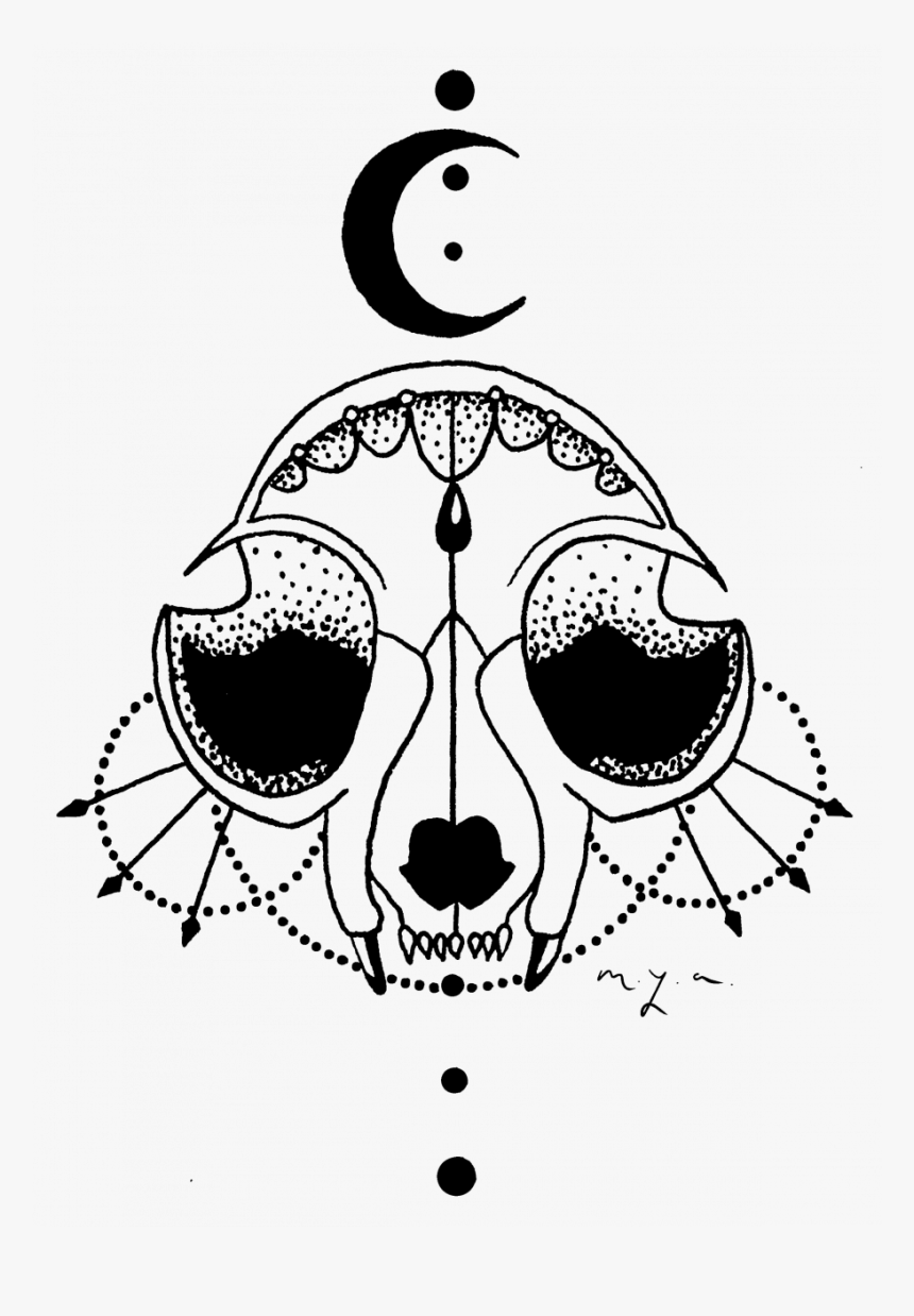 Skull Drawing Tattoos Cat Easy App Ideas Free - Illustration, HD Png Download, Free Download