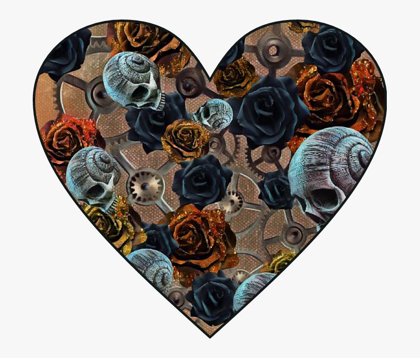 #heart #love #steampunk #gears #gear #hearts #rose - Skull Roses Heart, HD Png Download, Free Download