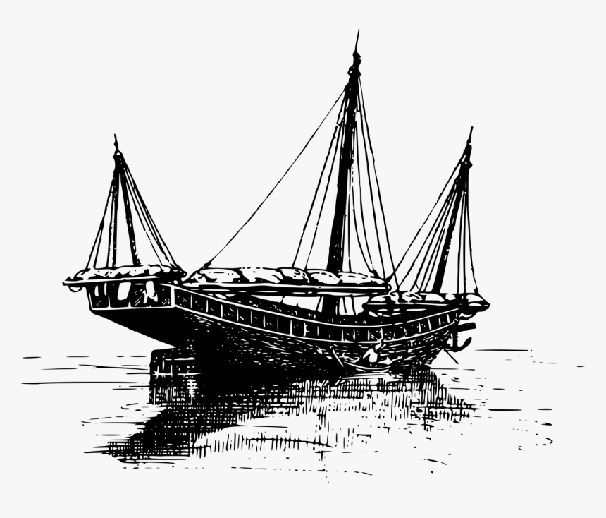 Chinese Junk Ship Drawing, HD Png Download, Free Download