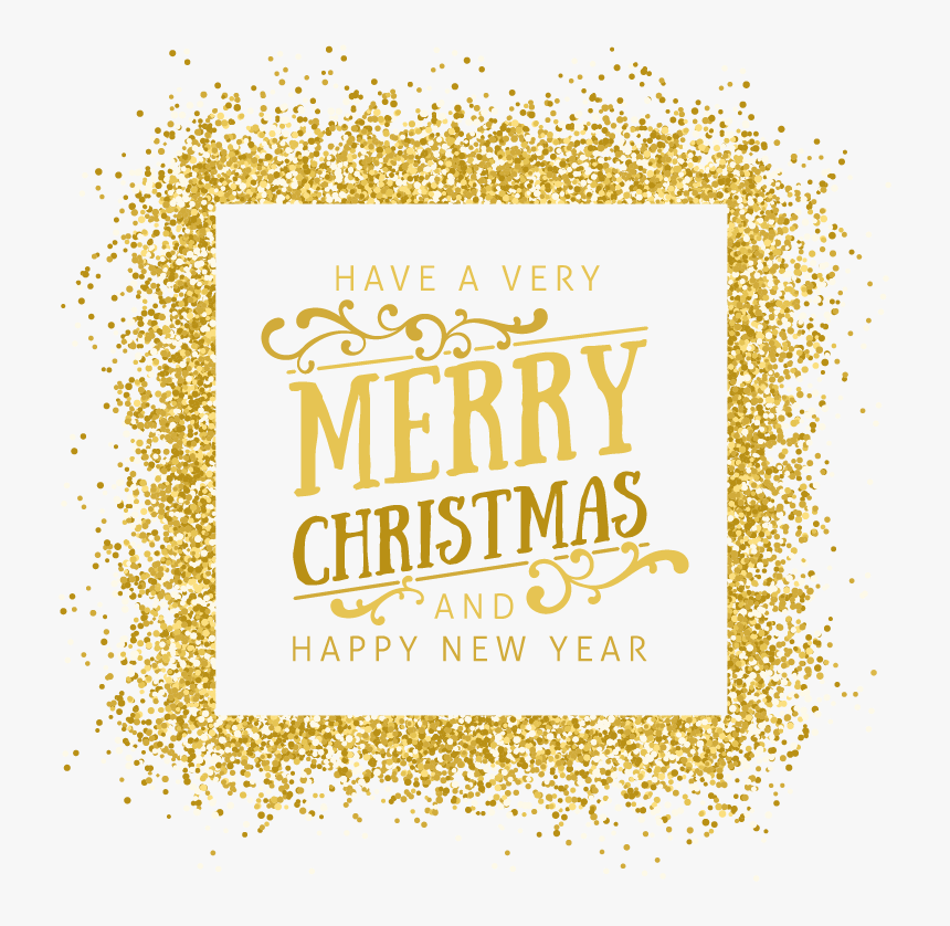 Gold Euclidean Vector New Year Clip Art - Gold Glitter Frame Png, Transparent Png, Free Download