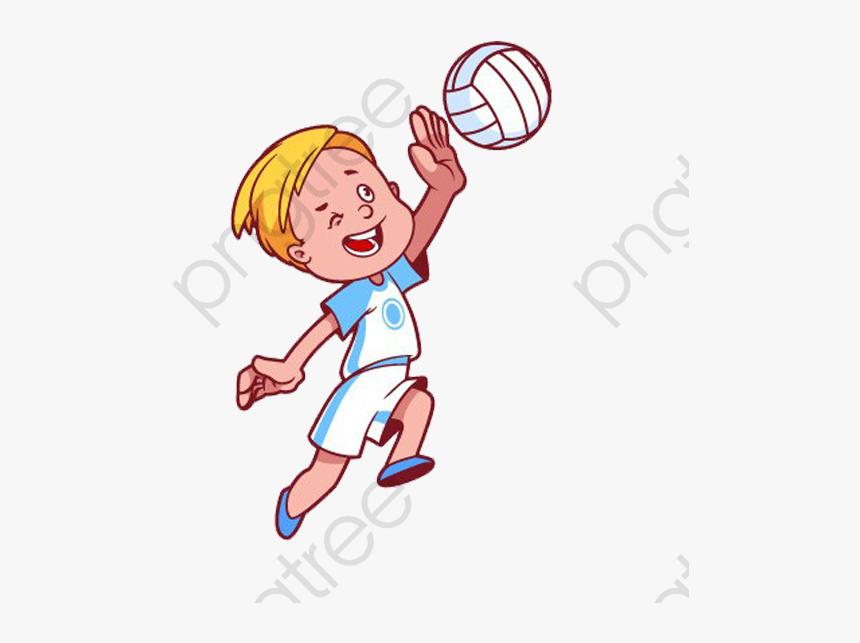 Cartoon Kids Playing Volleyball Cartoon Kid Playing Volleyball Png Transparent Png Kindpng