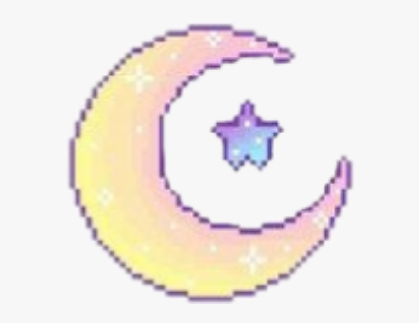 #moon #yellow #shine #star #purple #blue #aesthetic - Aesthetic Moon Transparent Pixel, HD Png Download, Free Download