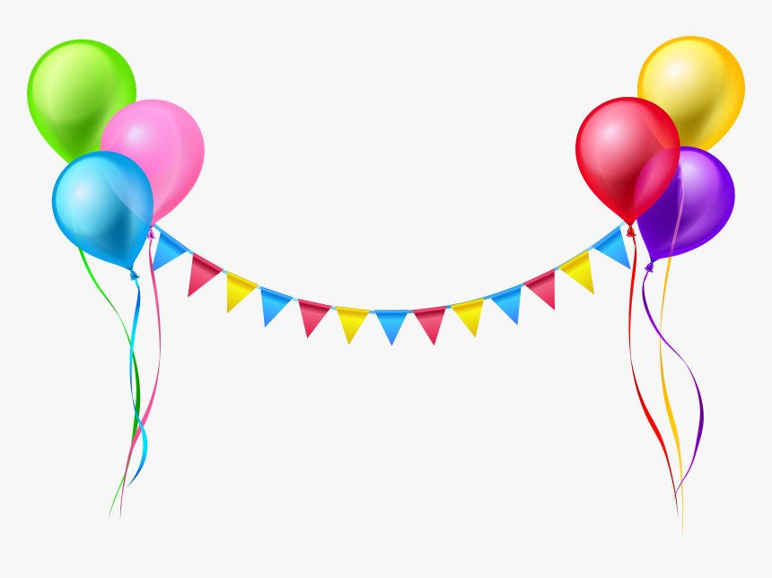 Streamer And Balloons Png - Transparent Background Birthday Png, Png Download, Free Download