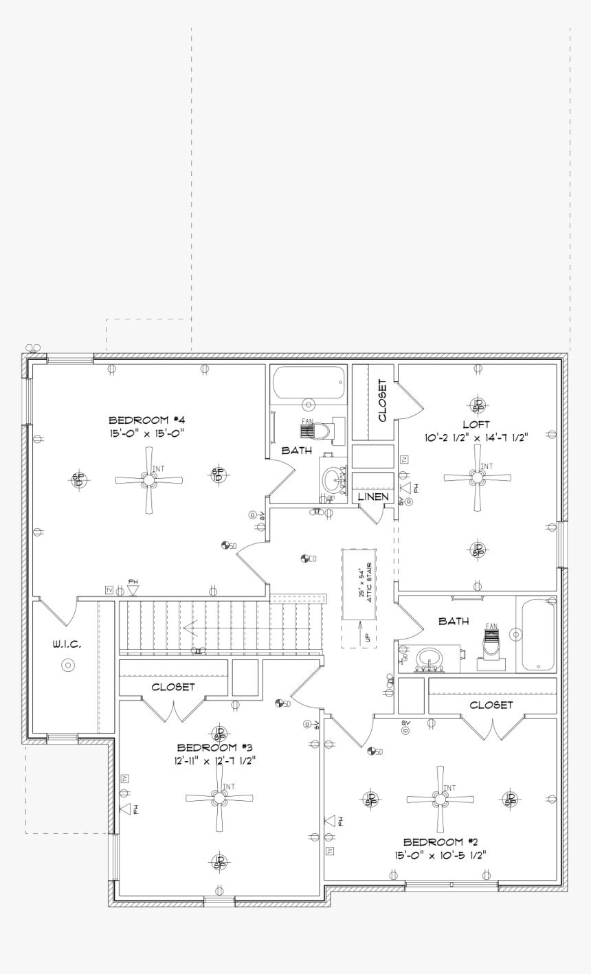 Lexington Upstairs By Stone Martin Builders - Technical Drawing, HD Png Download, Free Download
