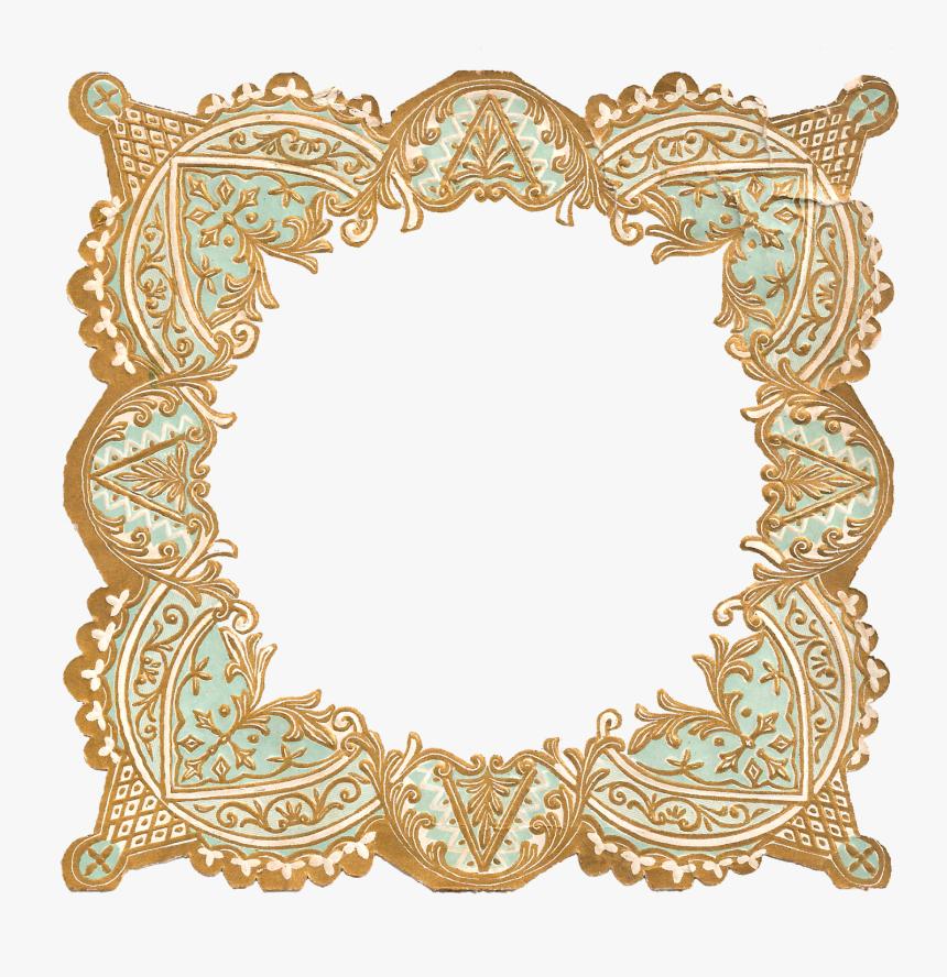 Frame Border Decorative Scrapbook Supple Craft Digital - Gold And Turquoise Border, HD Png Download, Free Download