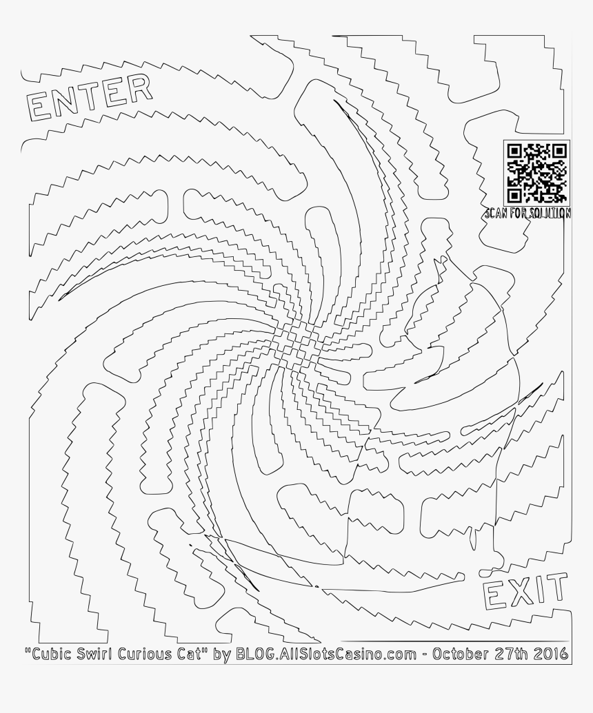 Cubic Swirl Curious Cat Maze Coloring Clip Arts - Line Art, HD Png Download, Free Download