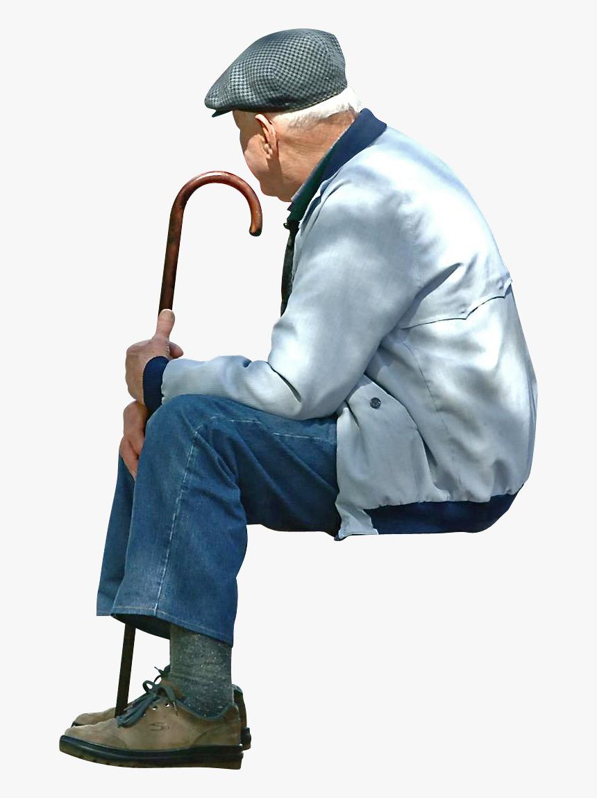 Old Man Sitting Png, Transparent Png, Free Download