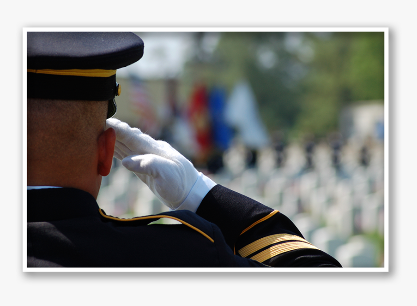 Soldier Saluting In A Cemetery - Memorial Day Marine Salute, HD Png Download, Free Download