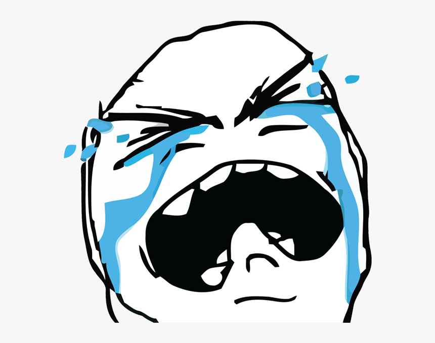 Rage Comics Messages Sticker-6 - Crying Rage Face Png, Transparent Png, Free Download