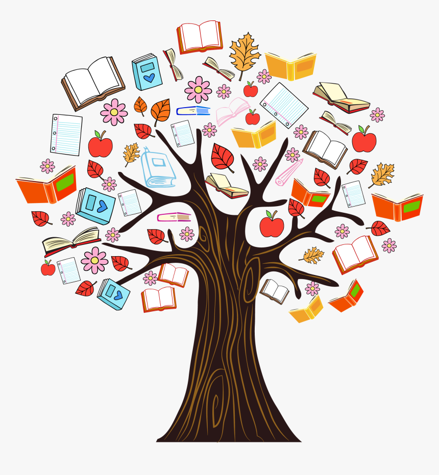 Vector Knowledge Color Tree Illustration Book Reading - Book Tree ...