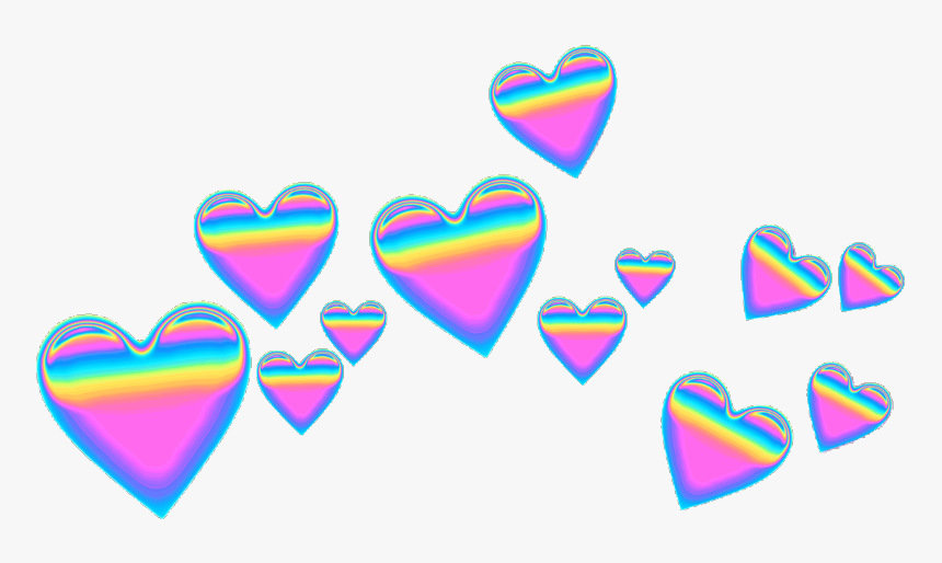 #pink #purple #blue #green #rainbow #emoji #emojicrown - Blue Heart Crown Png, Transparent Png, Free Download