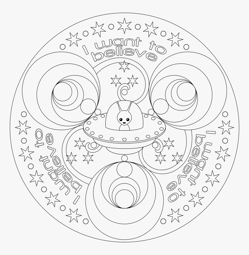 Transparent Mandala Clipart Black And White - Space Mandala Coloring Pages, HD Png Download, Free Download