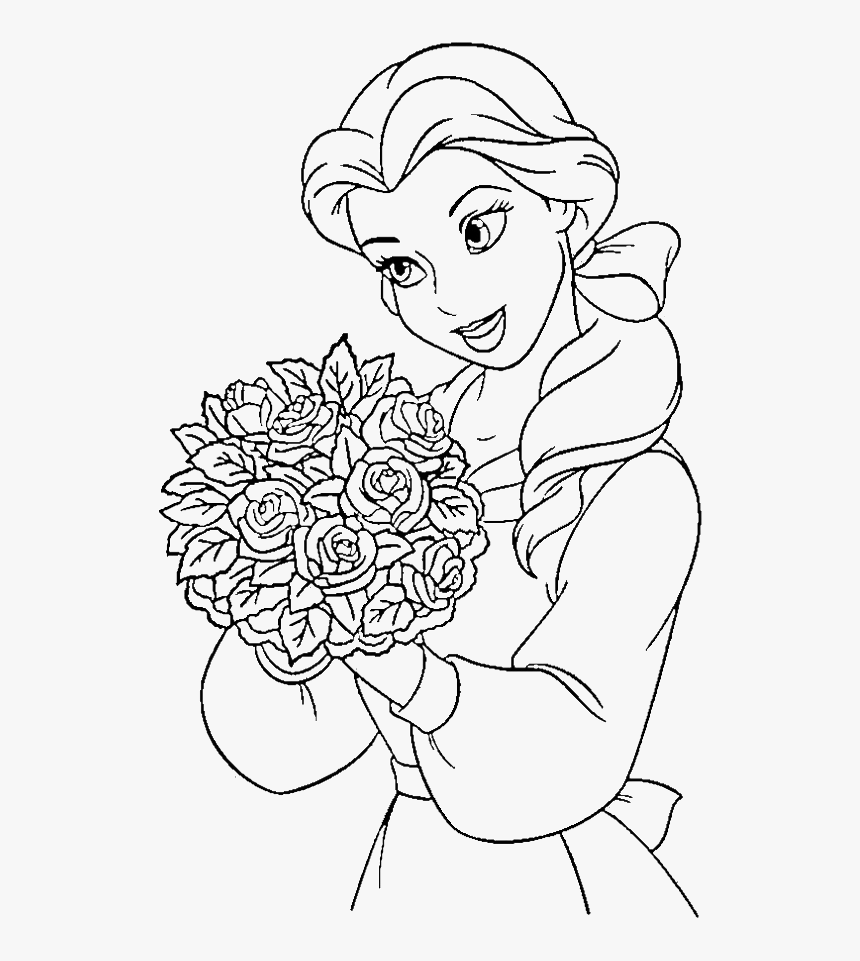Kleurplaten Disney Prinsessen - Beauty And The Beast Color, HD Png Download, Free Download