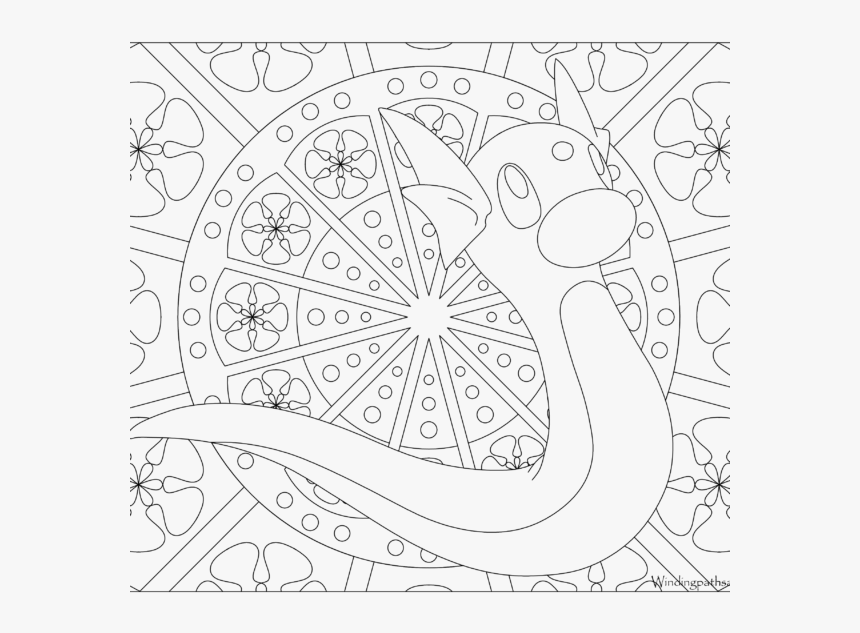 Adult Pokemon Coloring Page Dratini - Pokemon Mandala Coloring Pages, HD Png Download, Free Download