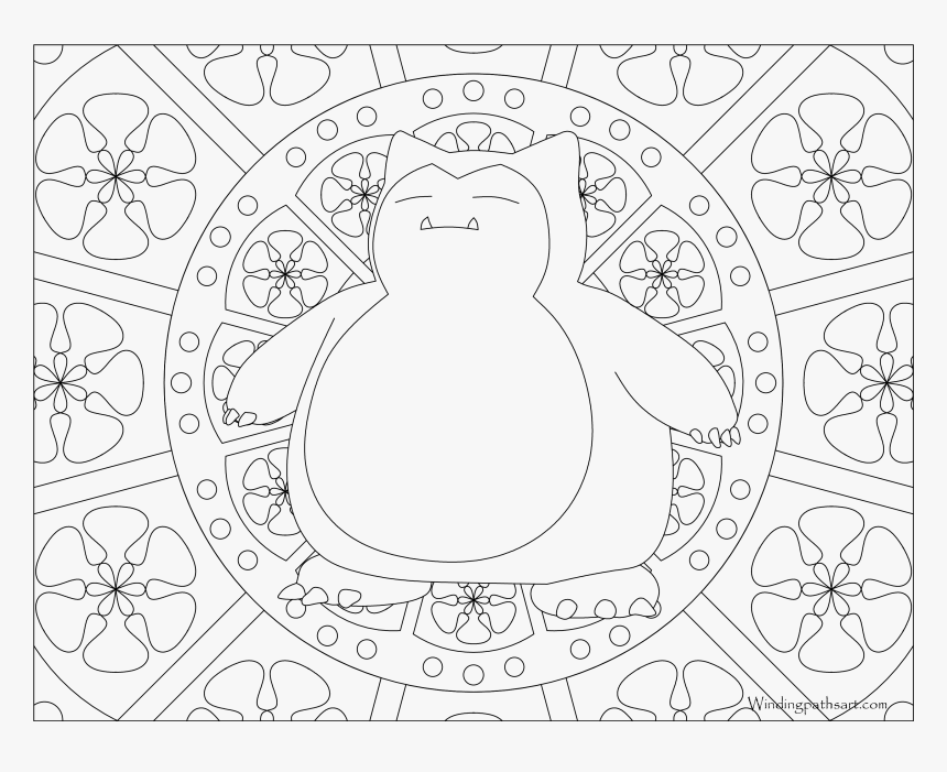 143 Snorlax Pokemon Coloring Page - Pokemon Mandala Coloring Pages, HD Png Download, Free Download