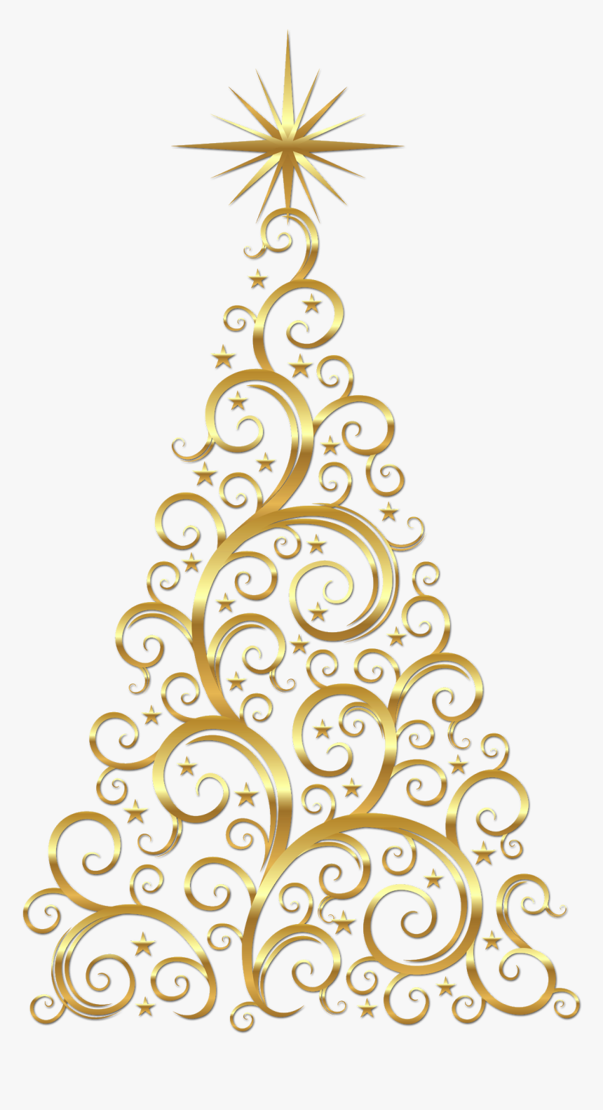 Gold Christmas Tree Clipart, HD Png Download, Free Download