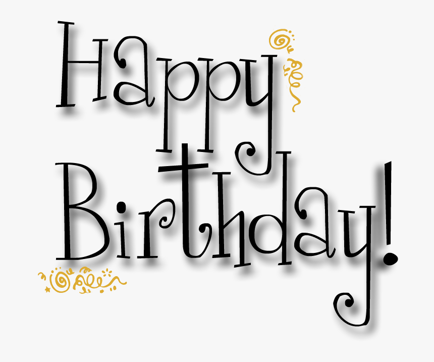 Words Clipart Happy Birthday - Birthday Cards Black And White, HD Png Download, Free Download