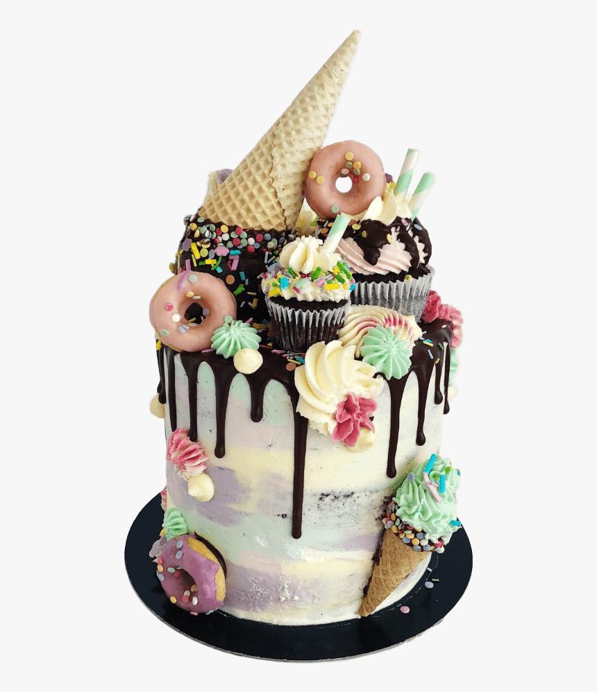 "Vegan Ice Cream Drip Cake London""  Class= - Ice Cream Drip Birthday Cake, HD Png Download, Free Download"