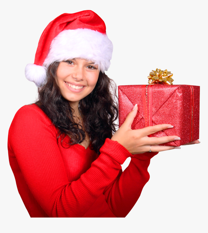 Girl With Red Santa Claus Hat Holding Gift Box Png - Santa Claus Girl Png, Transparent Png, Free Download