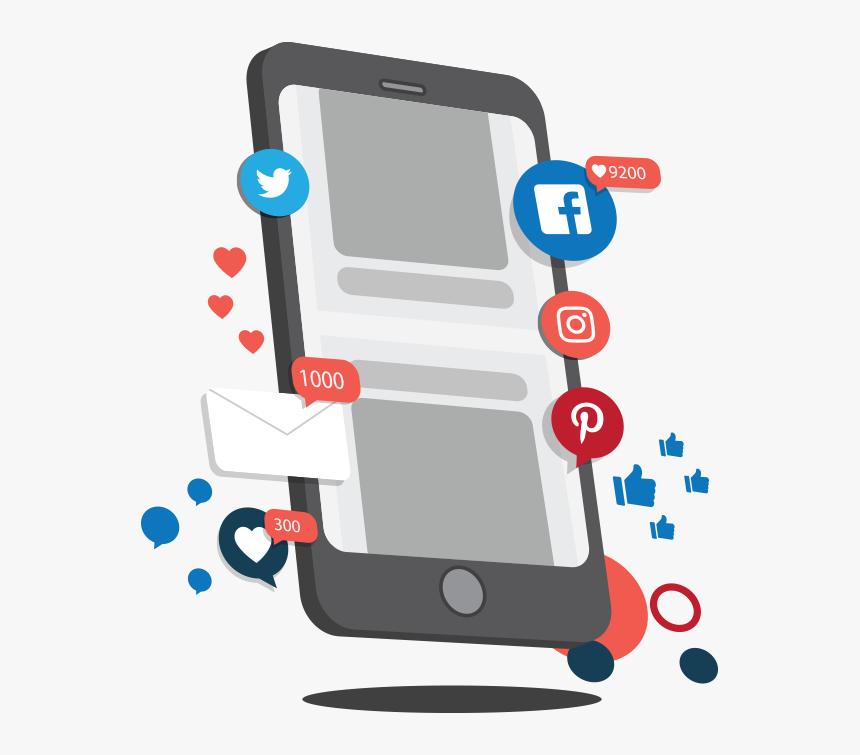 Social Media Apps On Mobile - Phone On Social Media Png, Transparent Png, Free Download