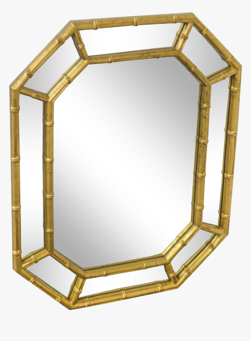 Faux Bamboo Vintage Gold Frame Wall Mirror Chairish Architecture Hd Png Download Kindpng
