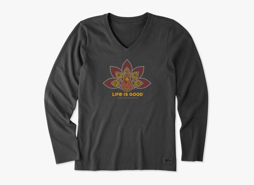"Women""s Thanksgiving Mandala Long Sleeve Crusher Vee - Life Is Good, HD Png Download, Free Download"