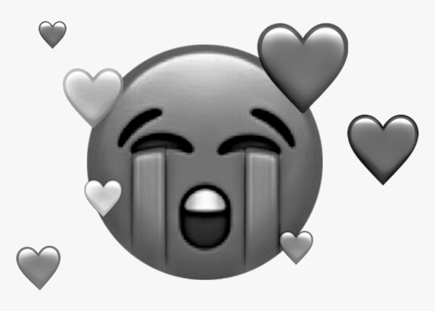 #sad #emoji #black #and #white #hearts #broken #cry - Crying Emoji And Broken Heart, HD Png Download, Free Download