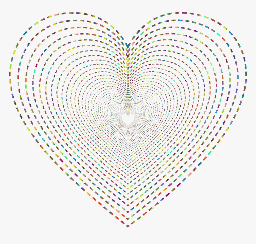 Dashed Line Art Heart Tunnel 2 No Background Clip Arts - Dashed Line Art, HD Png Download, Free Download