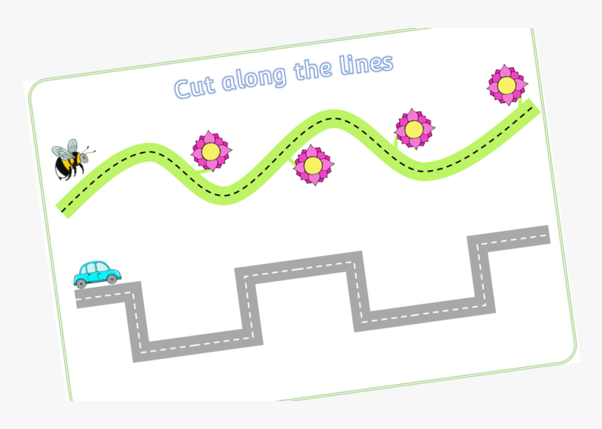 Scissor Skills/cut Along The Dotted Lines Using Tools - Cutting Activity For Eyfs, HD Png Download, Free Download