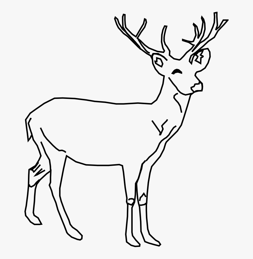 Whitetail Buck Deer Sketch Clip Art Download - Deer Clipart Black And White, HD Png Download, Free Download