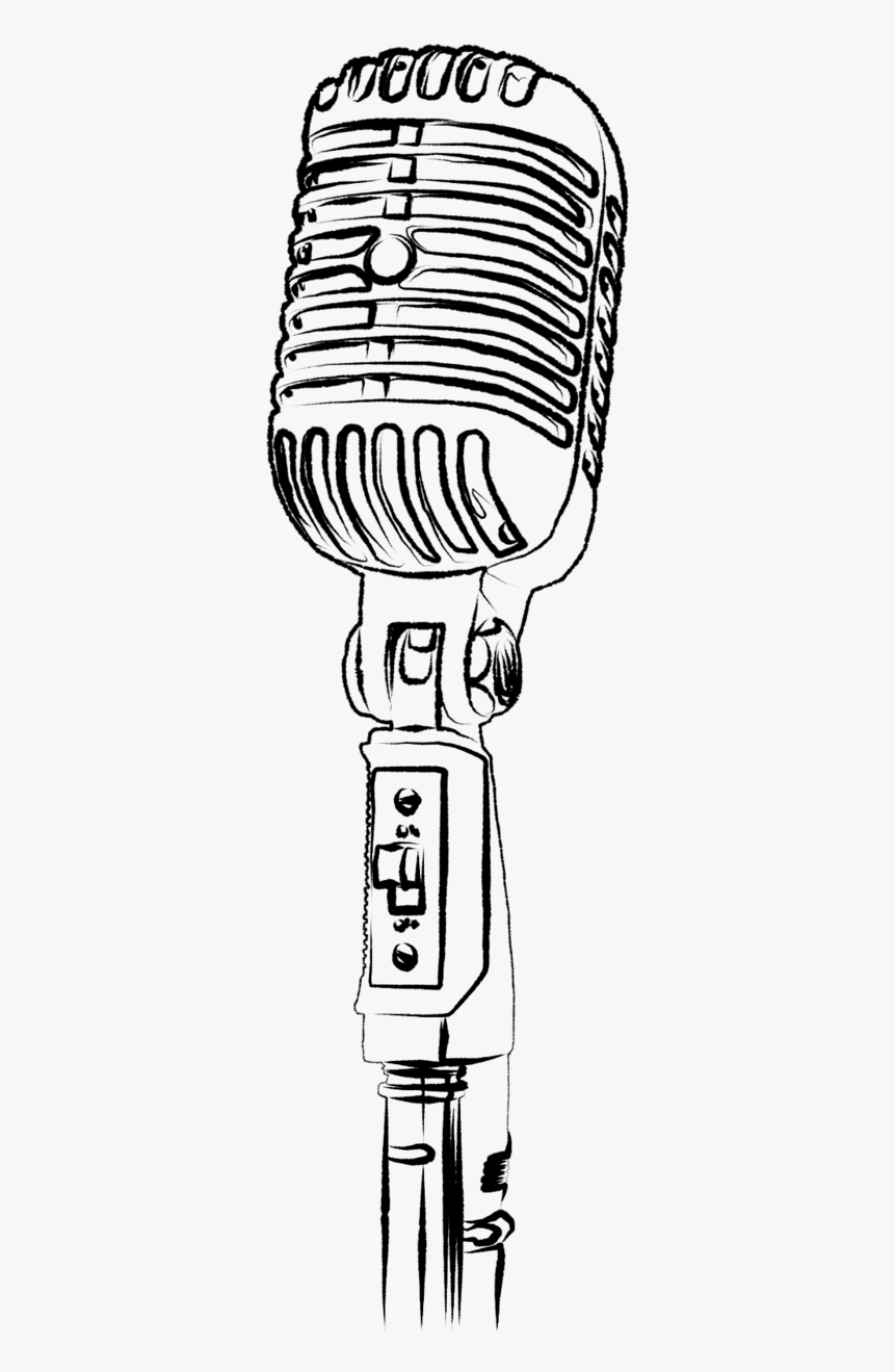 Microphone Clipart Tumblr Transparent - Microphone Drawing White Background, HD Png Download, Free Download