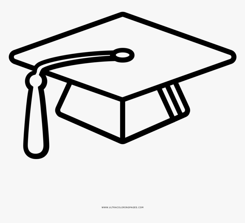 Mortar Board Coloring Page - Line Art, HD Png Download, Free Download