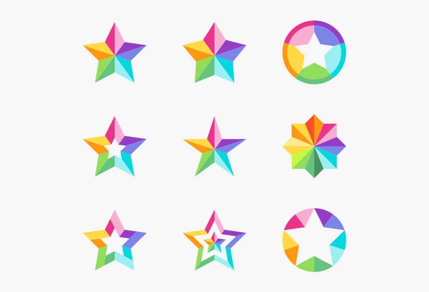 Star Set - Color Star Icon Png, Transparent Png, Free Download